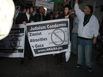 Anti-Zionist Orthodox Jews joined 1500 people in New York City marching in protest of the bombings and massacre in Gaza.